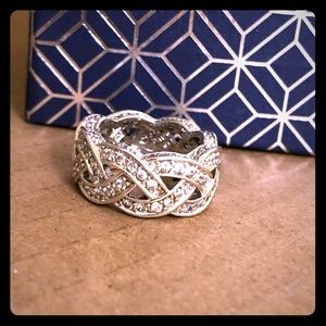 Sterling Silver Belted Zirconia Ring, Size 7